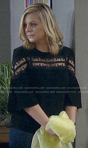 Maxie's black mesh inset top on General Hospital