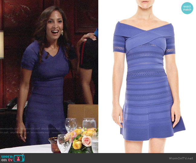 Sandro Off Shoulder Top and Skater Skirt worn by Christel Khalil on The Young & the Restless