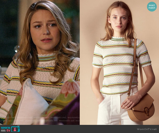 Sandro Fancy Knit Sweater worn by Melissa Benoist on Supergirl