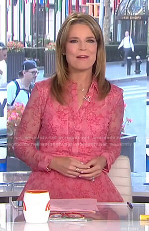Savannah's pink lace shirtdress on Today