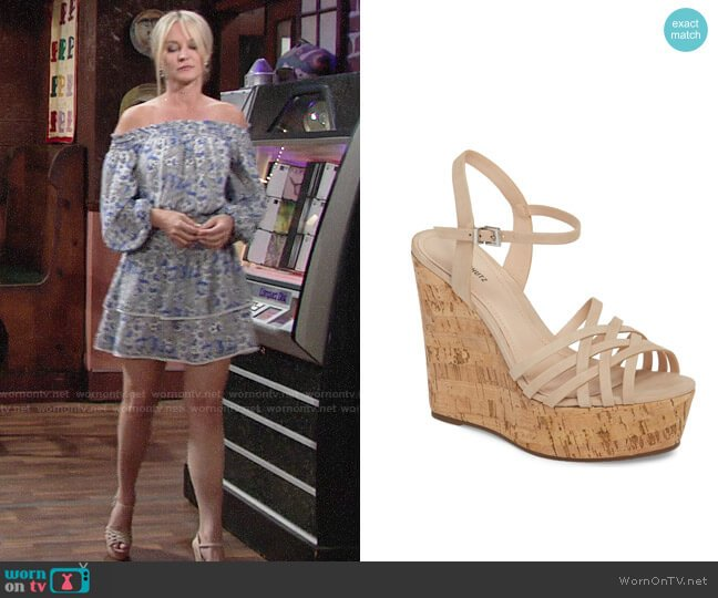 Schutz Louna Platform Wedge Sandal worn by Sharon Collins (Sharon Case) on The Young & the Restless