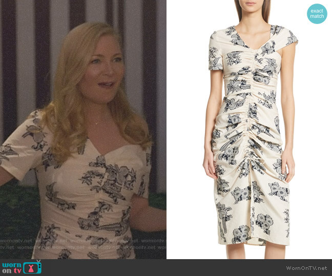 Josephine Floral Print Ruched Dress by Sea worn by Pauline (Jennifer Westfeldt) on Younger