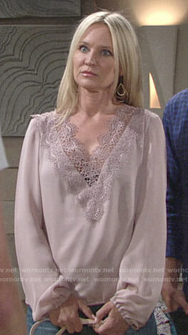 Sharon's mauve lace trim blouse on The Young and the Restless