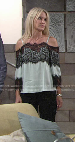 Sharon's cold-shoulder blouse with black lace on The Young and the Restless
