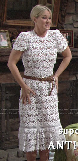 Sharon's white floral lace midi dress on The Young and the Restless