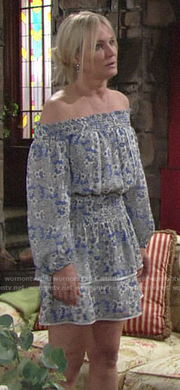 Sharon's blue floral off-shoulder dress on The Young and the Restless