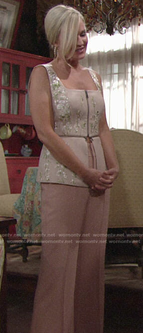 Sharon's floral embroidered top with zips and pink trousers on The Young and the Restless