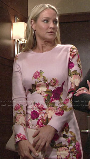 Sharon's pink floral long sleeved dress on The Young and the Restless