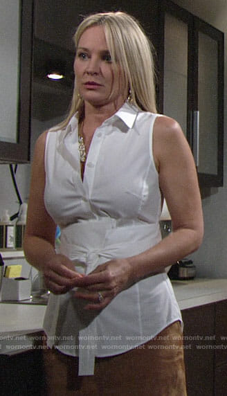 Sharon's white tie-front shirt and suede skirt on The Young and the Restless