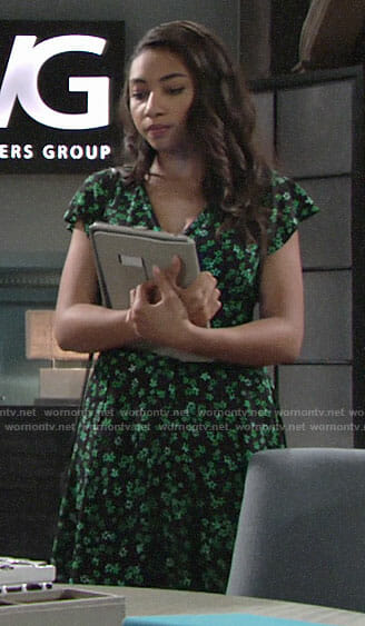 Shauna's black and green floral dress on The Young and the Restless