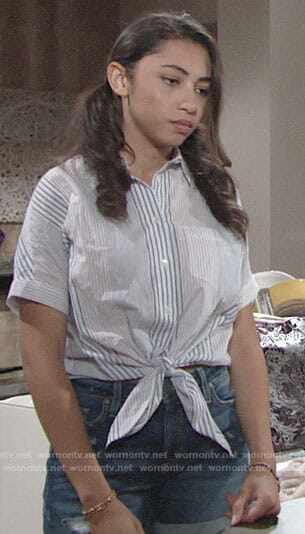 Shauna's striped tie front shirt on The Young and the Restless