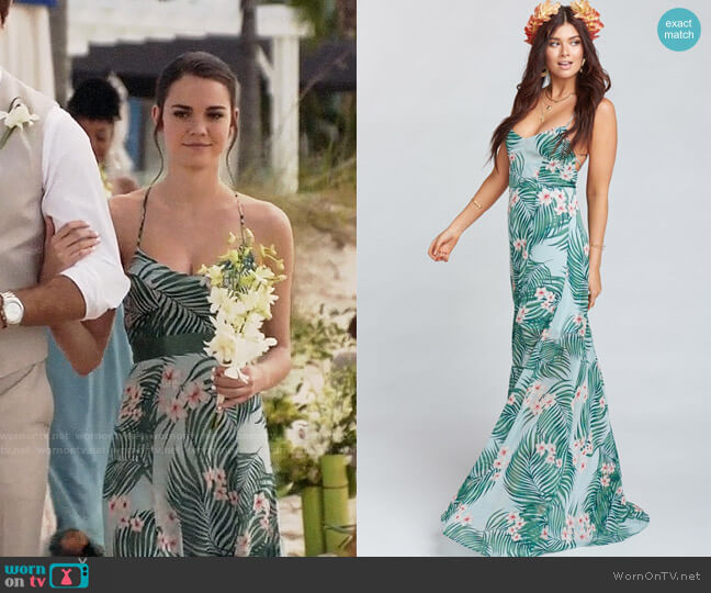 Show Me Your Mumu Godshaw Goddess Gown in Hanalei Dream worn by Callie Jacob (Maia Mitchell) on The Fosters
