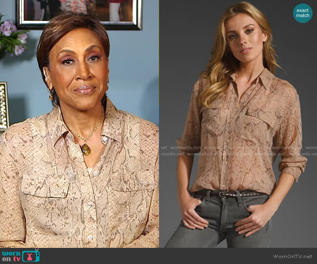Signature Python Chiffon Blouse by Equipment worn by Robin Roberts  on Good Morning America