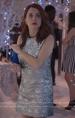 Jo's silver metallic dress on Girlfriends Guide to Divorce