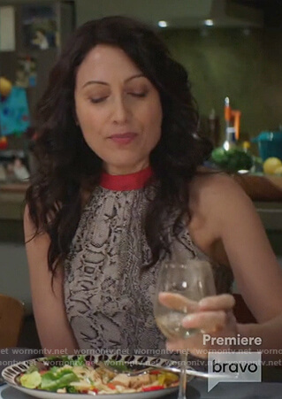 Abby's snake print halter neck top on Girlfriends Guide to Divorce