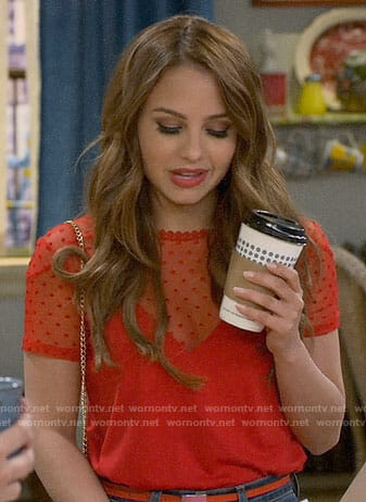 Sofia's red mesh dotted top on Young and Hungry