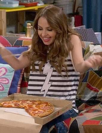 Sofia's striped bolt tank top on Young and Hungry