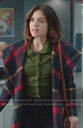Stella's checked coat and green bow button cardigan on Life Sentence