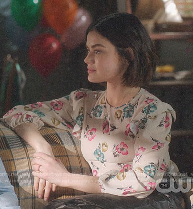 Stella's floral ruffle shoulder top on Life Sentence