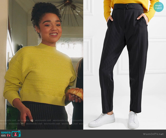 Kassidy belted pinstriped wool-blend tapered pants by Stella McCartney worn by Aisha Dee on The Bold Type