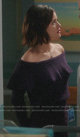 Stella's purple off-shoulder sweater on Life Sentence