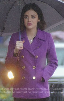 Stella's purple peacoat on Life Sentence