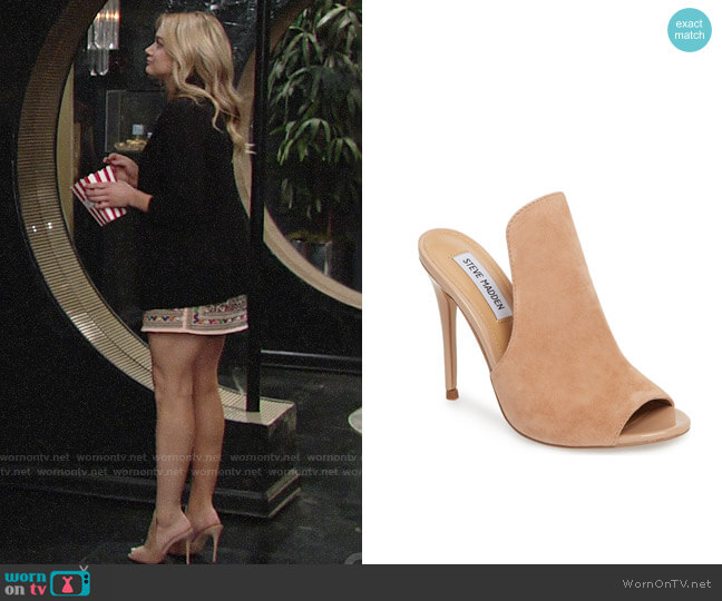Sinful Sandal by Steve Madden worn by Hunter King on The Young & the Restless