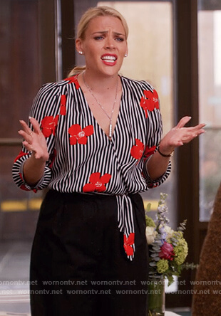 Sheba Goodman's striped floral blouse on Unbreakable Kimmy Schmidt