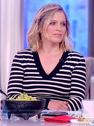 Sara's striped v-neck bodysuit on The View