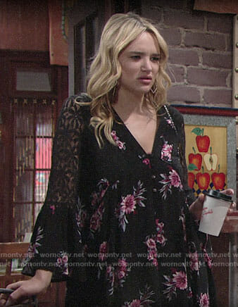 Summer's black and pink floral dress on The Young and the Restless
