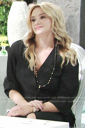Summer's black wrap dress and tassel necklace on The Young and the Restless