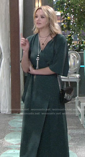 Summer's green maxi wrap dress on The Young and the Restless
