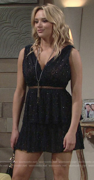 Summer's metallic navy mini dress on The Young and the Restless