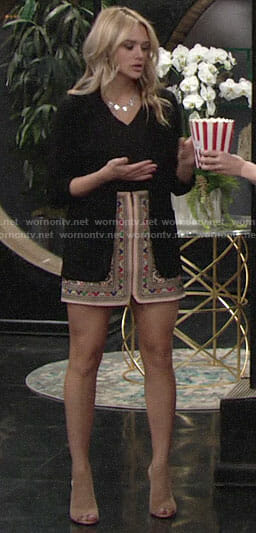 Summer's embroidered skirt and black blazer on The Young and the Restless