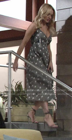 Summer's polka dot maxi dress on The Young and the Restless