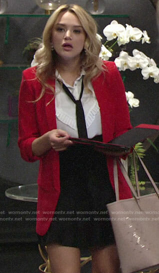 Summer's red blazer and white pleated trim shirt on The Young and the Restless