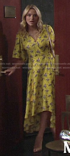 Summer's yellow high-low wrap dress on The Young and the Restless