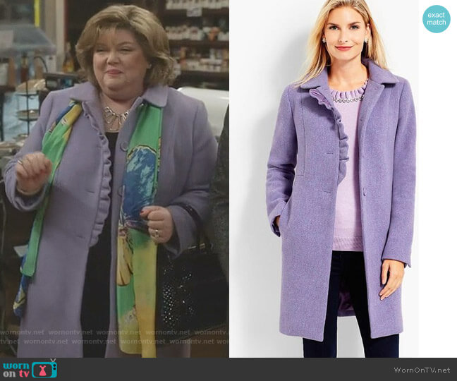Albury Wool Ruffle Coat by Talbots worn by Martha Tinsdale (Catherine Disher) on Good Witch