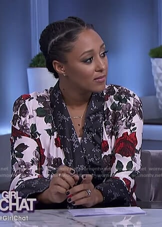 Tamera's white floral dress and jacket on The Real