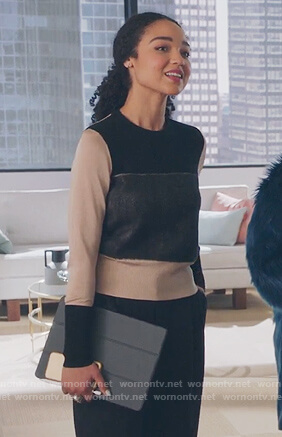Kat's tan colorblock sweater on The Bold Type