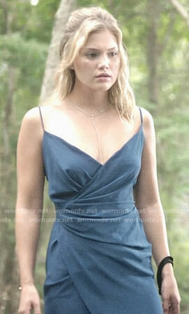 Tandy's blue wrap dress on Marvel's Cloak and Dagger