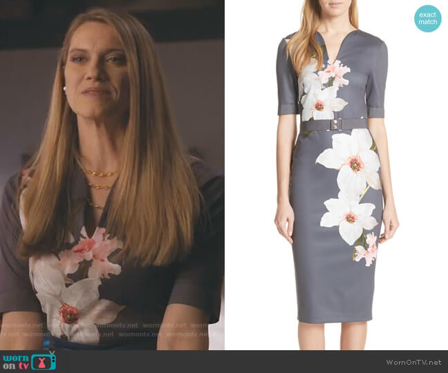 Floral Print Belted Body-Con Dress by Ted Baker worn by Sydney (Heather Doerksen) on Take Two