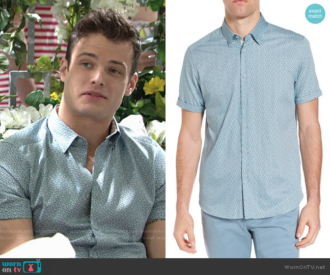 Ted Baker Narnar Geo Print Camp Shirt worn by Michael Mealor on The Young & the Restless
