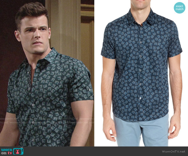 Ted Baker Tern Geo Print Sport Shirt worn by Michael Mealor on The Young & the Restless
