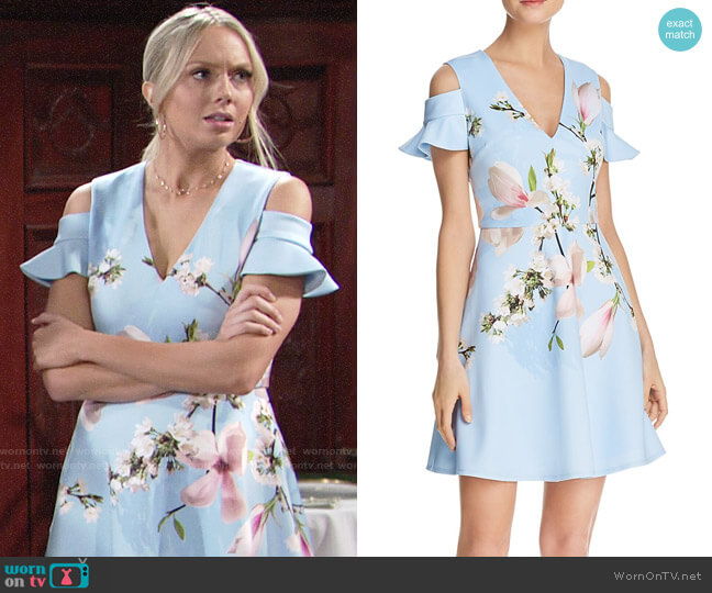 Ted Baker Effrae Harmony Cold-Shoulder Dress worn by Abby Newman (Melissa Ordway) on The Young & the Restless