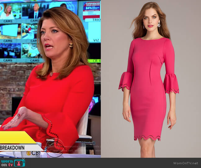 Laser-Cut Sheath Dress by Teri Jon worn by Norah O'Donnell (Norah O'Donnell) on CBS This Morning