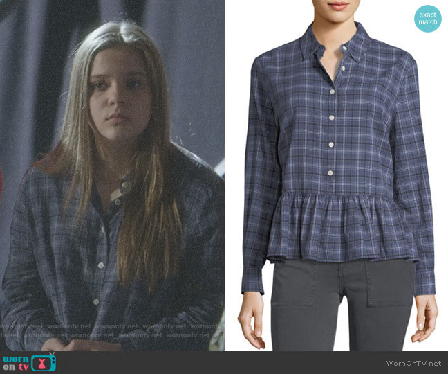 The Ruffle Long-Sleeve Plaid Oxford Shirt by The Great worn by Maisy Stella on Nashville