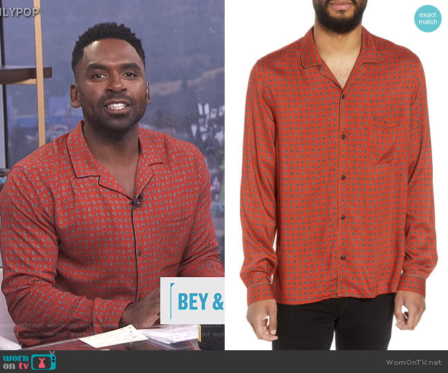 Slim Fit Paisley Sport Shirt by The Kooples worn by Justin Sylvester  on E! News