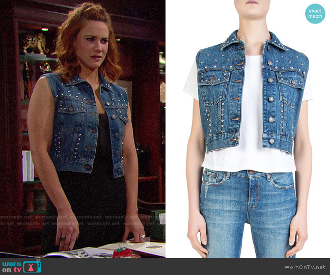 The Kooples Cropped Studded Denim Vest worn by Sally Spectra (Courtney Hope) on The Bold & the Beautiful
