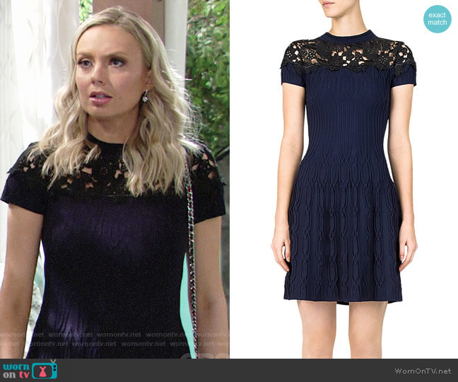 The Kooples Ribbed Lace-Inlay Dress worn by Melissa Ordway on The Young & the Restless